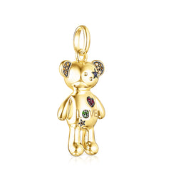 Silver Vermeil Teddy Bear Stars Pendant with Gemstones
