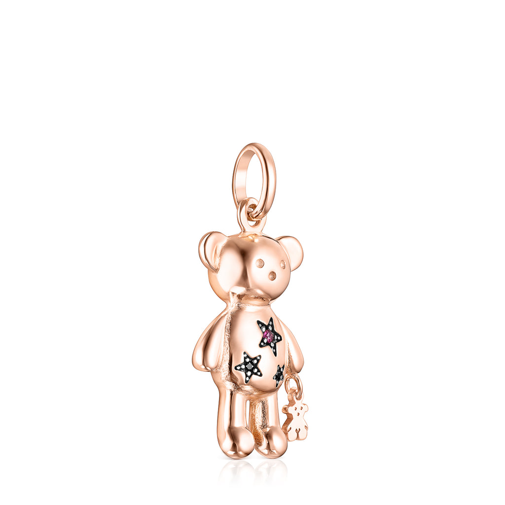 Rose Silver Vermeil Teddy Bear Stars Pendant with Gemstones