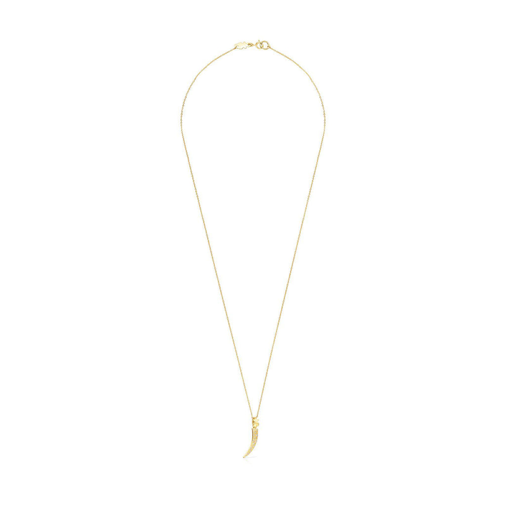 Gold TOUS Good Vibes Cornucopia Necklace with Diamonds-Necklace-Tous Canada