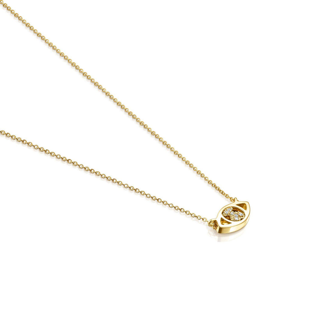 Gold TOUS Good Vibes Eye Necklace with Diamonds