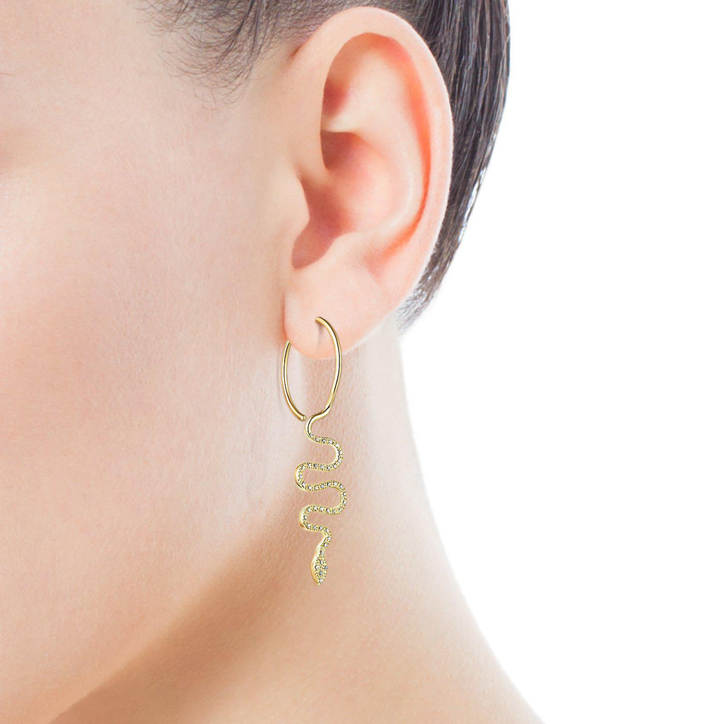 Gold TOUS Good Vibes Serpent 1/2 Earring with Diamonds-Earring-Tous Canada