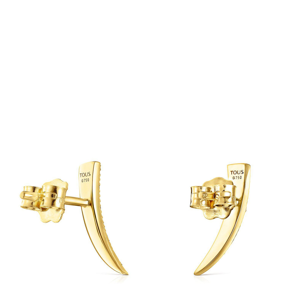 Gold TOUS Good Vibes Cornucopia Earrings with Diamonds-Earrings-Tous Canada