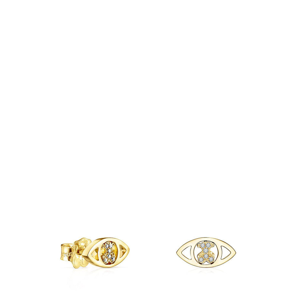 Gold TOUS Good Vibes Eye Earrings with Diamonds