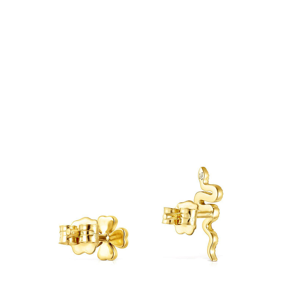 Gold TOUS Good Vibes Clover – Serpent Earrings with Diamonds-Earrings-Tous Canada