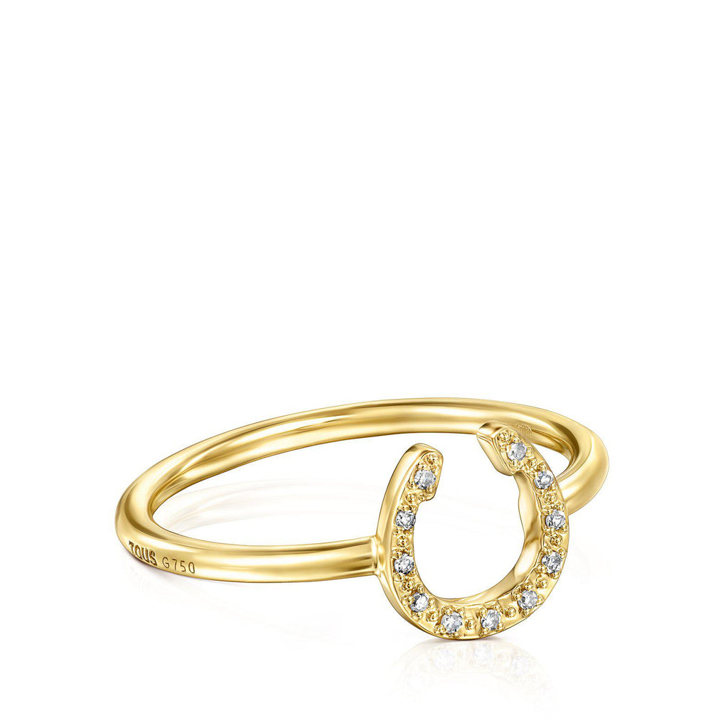 Gold TOUS Good Vibes Horseshoe Ring with Diamonds