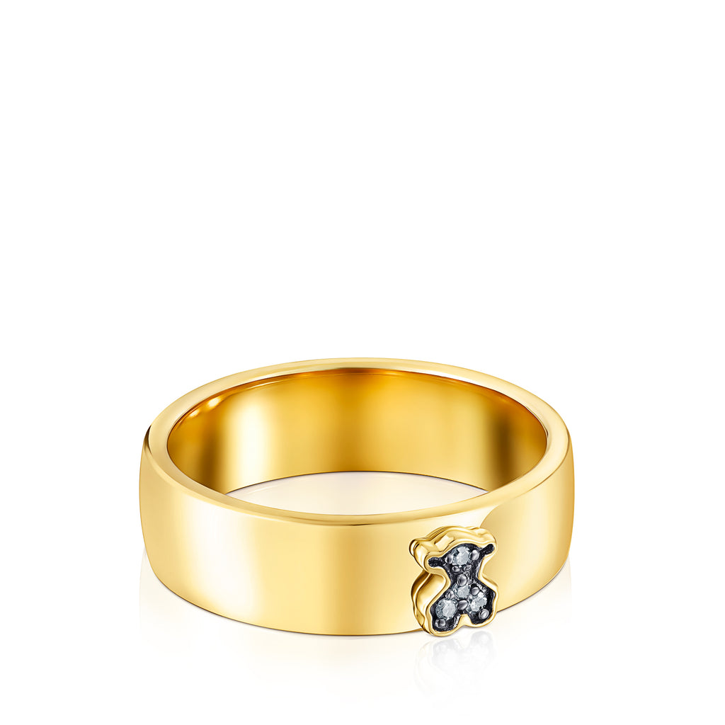 Vermeil Silver Nocturne Ring with Diamond Bear