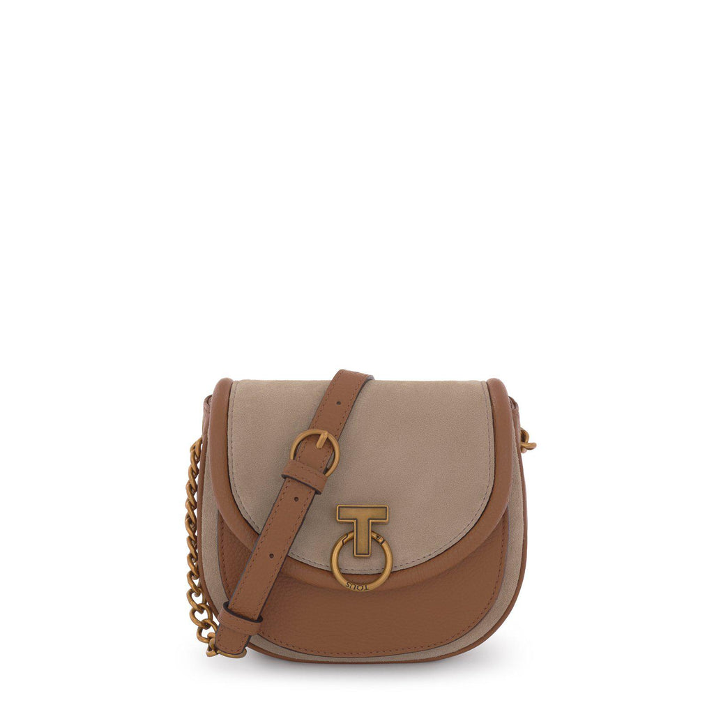 Brown/beige T Hold Chain leather crossbody bag