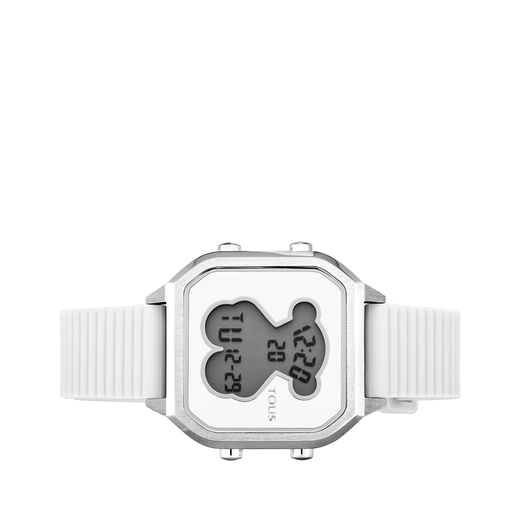 Steel D-Bear Teen Watch with white Silicone strap