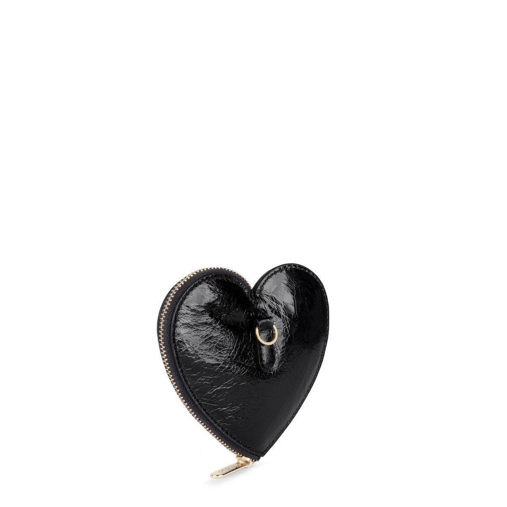 Black Leather Tulia Heart Change Purse