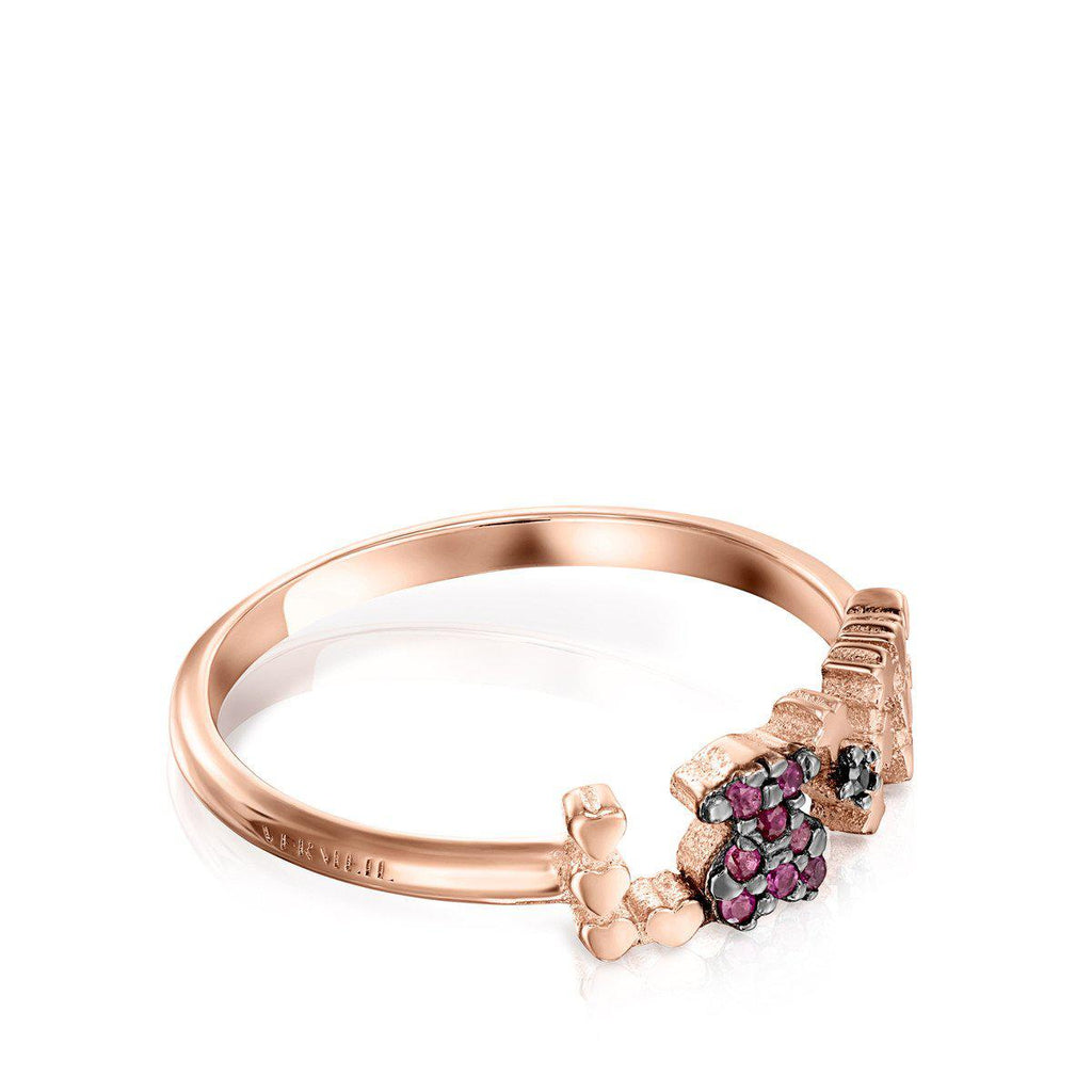 Rose Gold Vermeil San Valentín love Ring with Ruby and Spinel