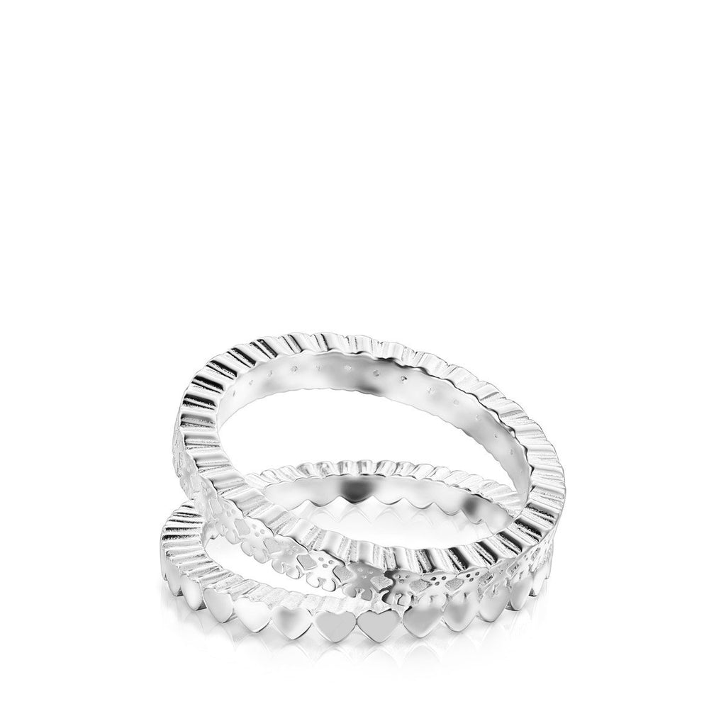 Silver Straight double Ring
