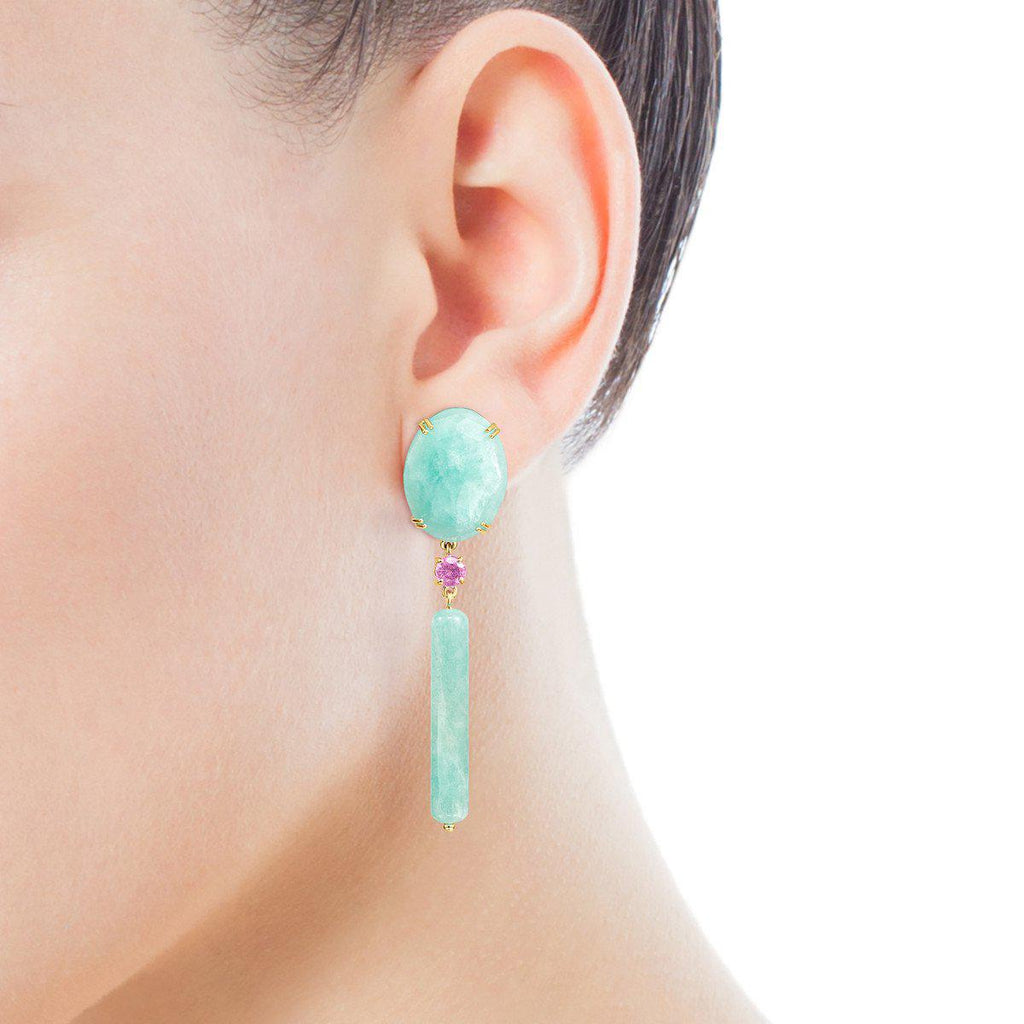 Long Gold with Amazonite and Ruby Vita Earrings