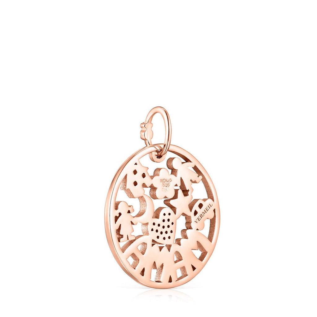 Small TOUS Mama Pendant in rose Gold Vermeil with Ruby