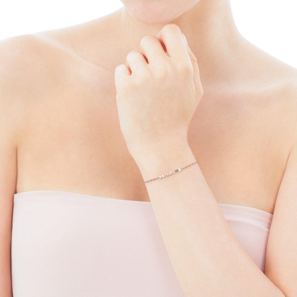 TOUS Mama Bracelet in rose Gold Vermeil with Ruby and Pearls