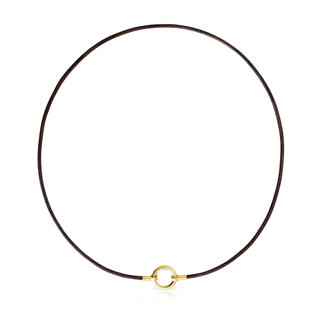 Gold and brown Leather Hold Necklace-Necklace-Tous Canada