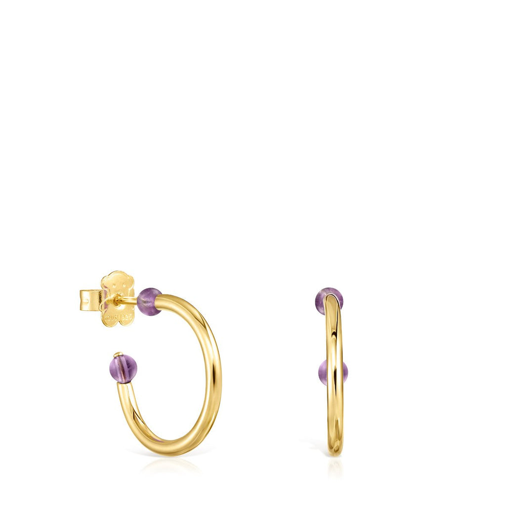 Small Batala Earrings in Gold Vermeil with Amethyst