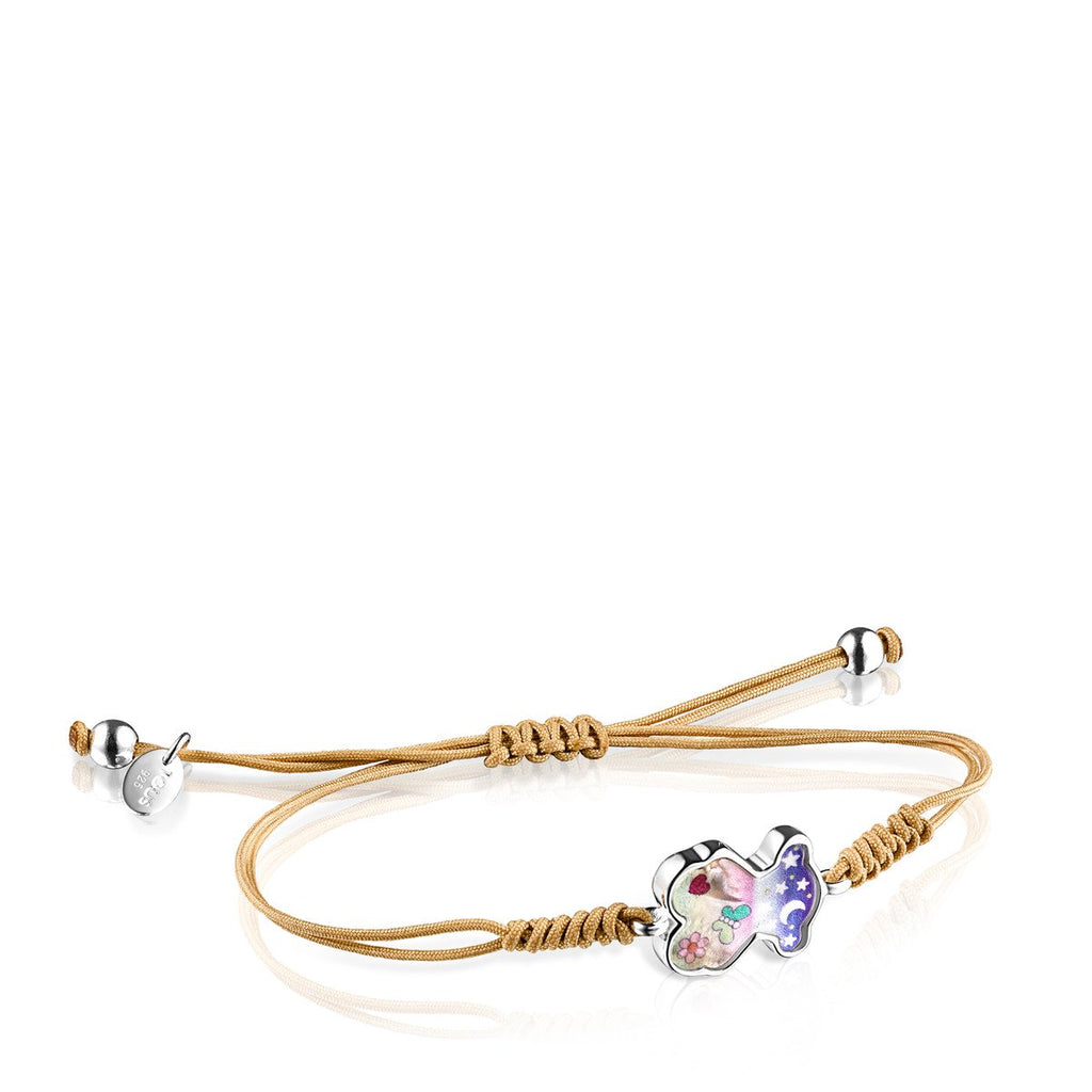 Nit Bracelet in Silver with Mother-of-Pearl and beige Cord-Default-Tous Canada