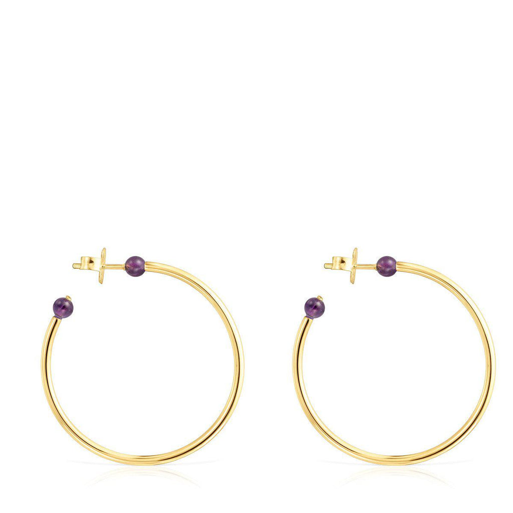 Large Batala Earrings in Gold Vermeil with Amethyst