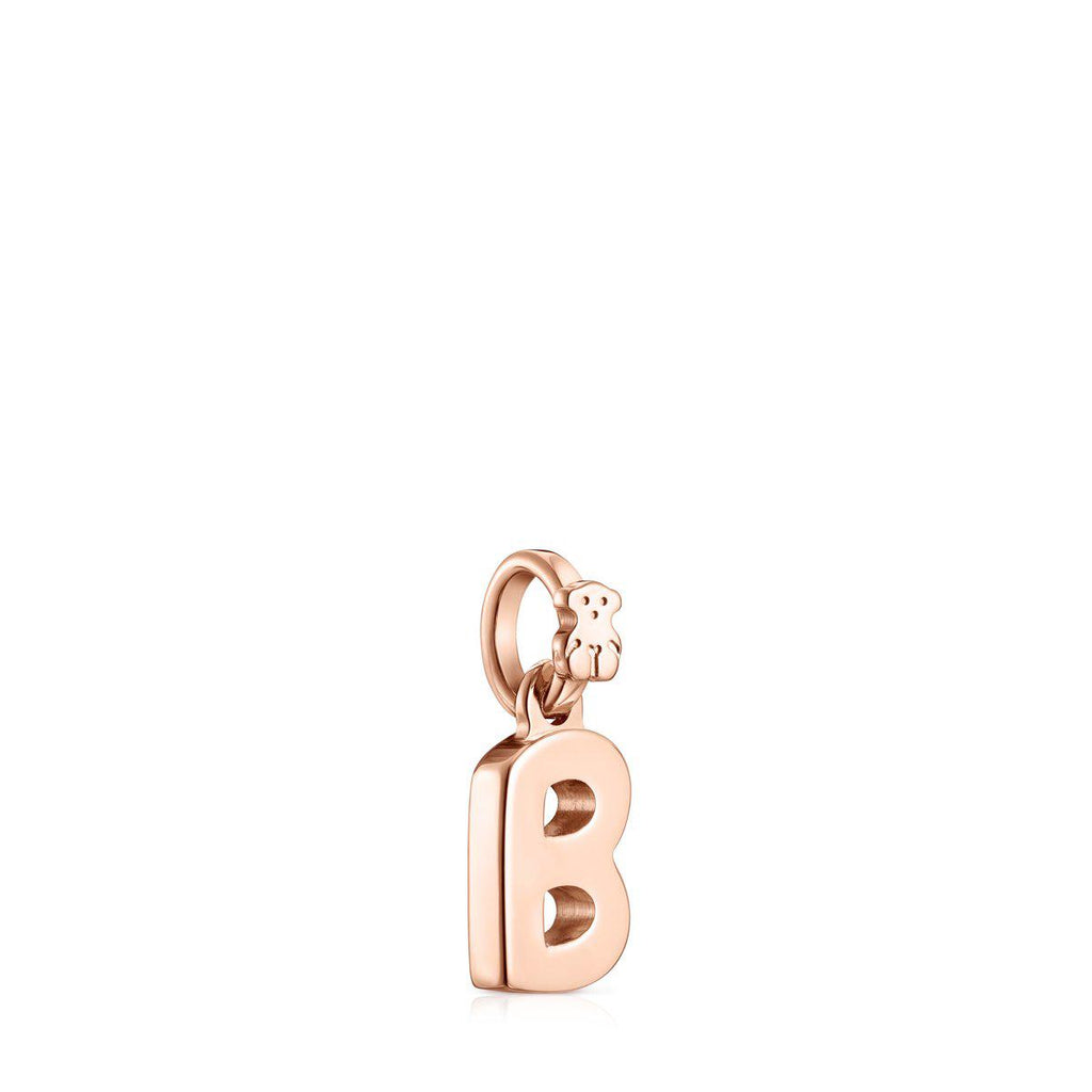 Alphabet letter B pendant in rose gold vermeil