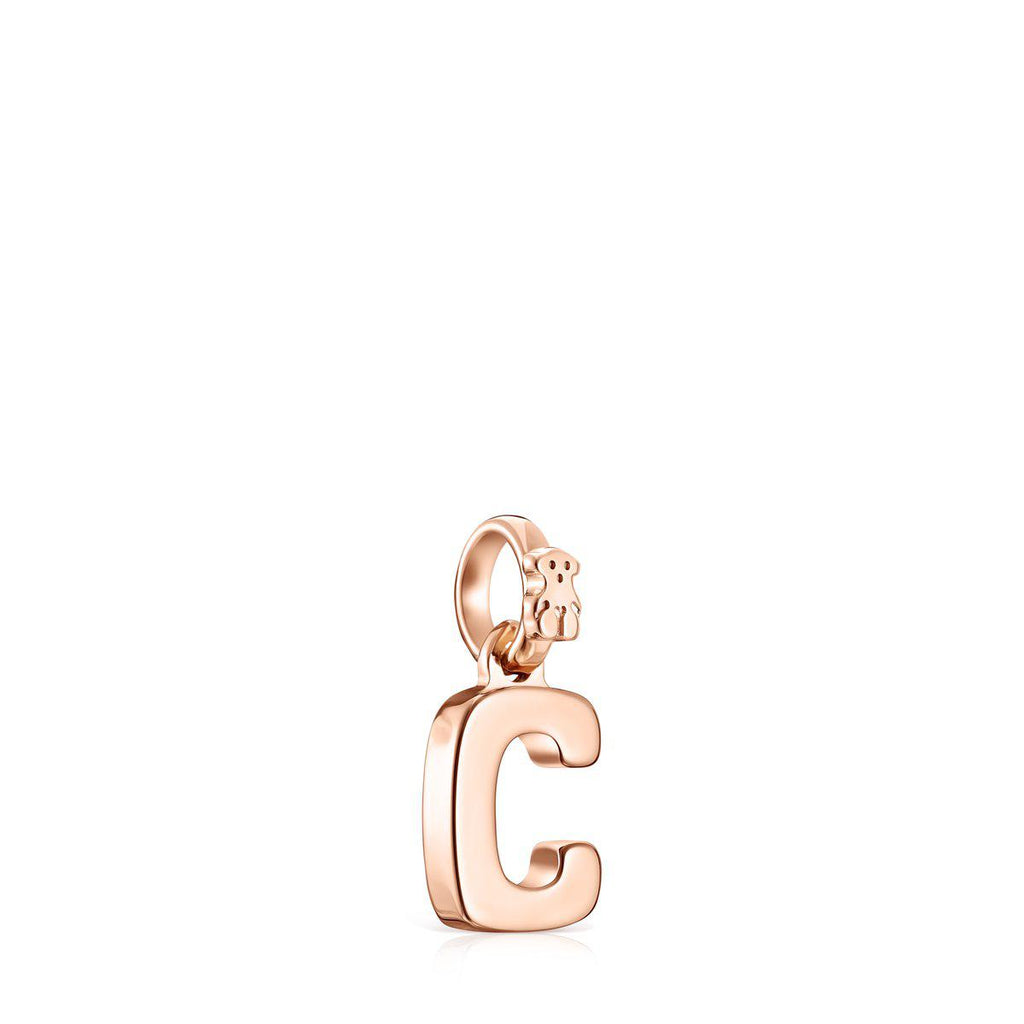 Alphabet letter C pendant in rose gold vermeil