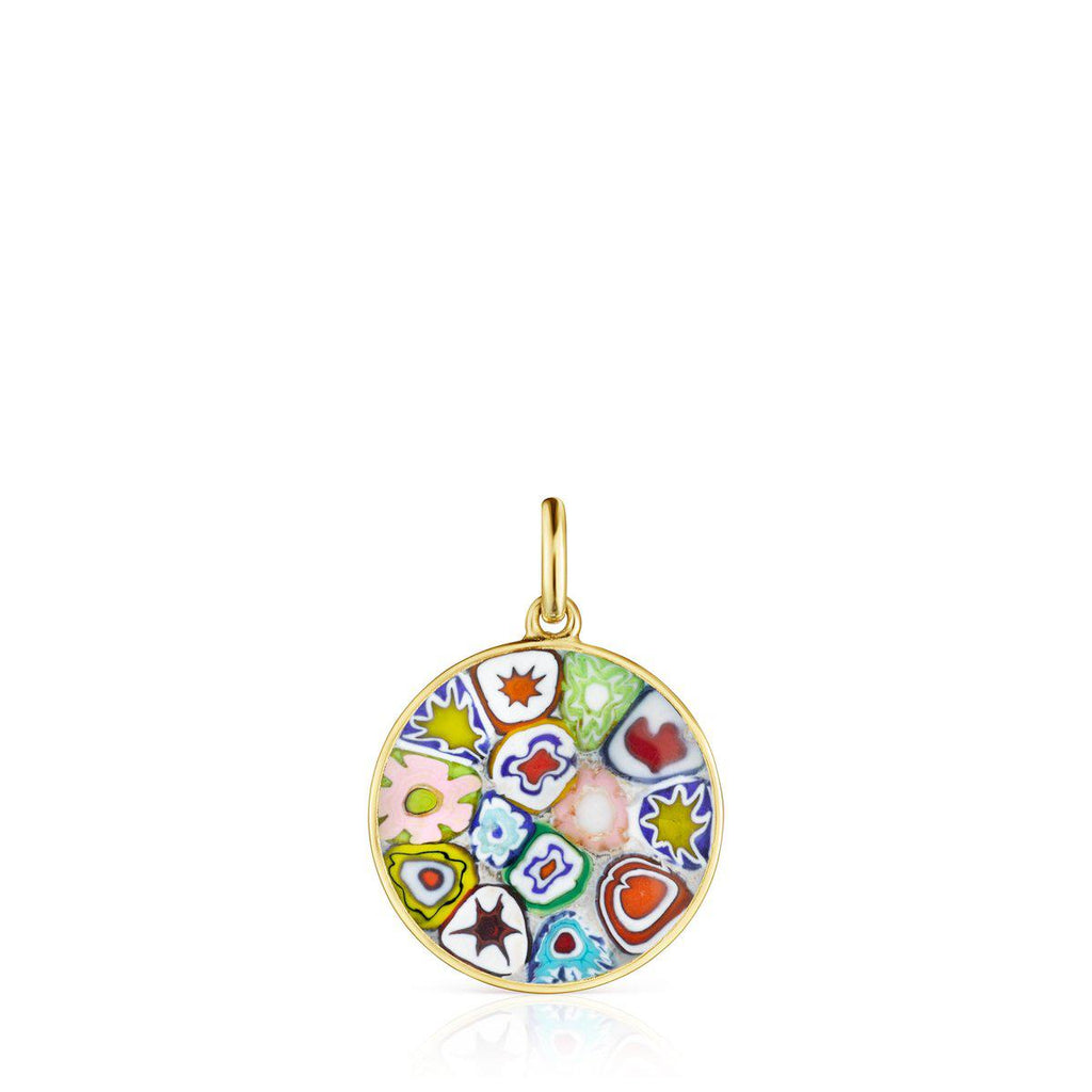 Small Minifiore disc Pendant in Gold Vermeil and Murano Glass-Tous Canada