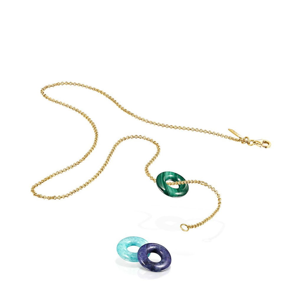 Hold Gems Gold Vermeil Necklace with Malachite, Amazonite and Lapis Lazuli