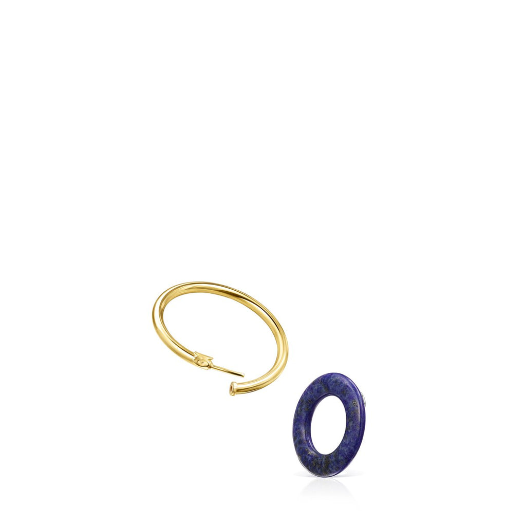 Hold Gems Earrings in Gold Vermeil with Amazonite and Lapis Lazuli