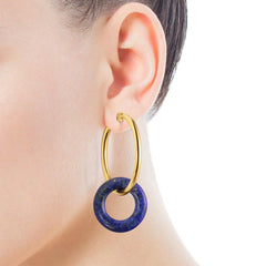 Hold Gems Earrings in Gold Vermeil with Amazonite and Lapis Lazuli-Default-Tous Canada