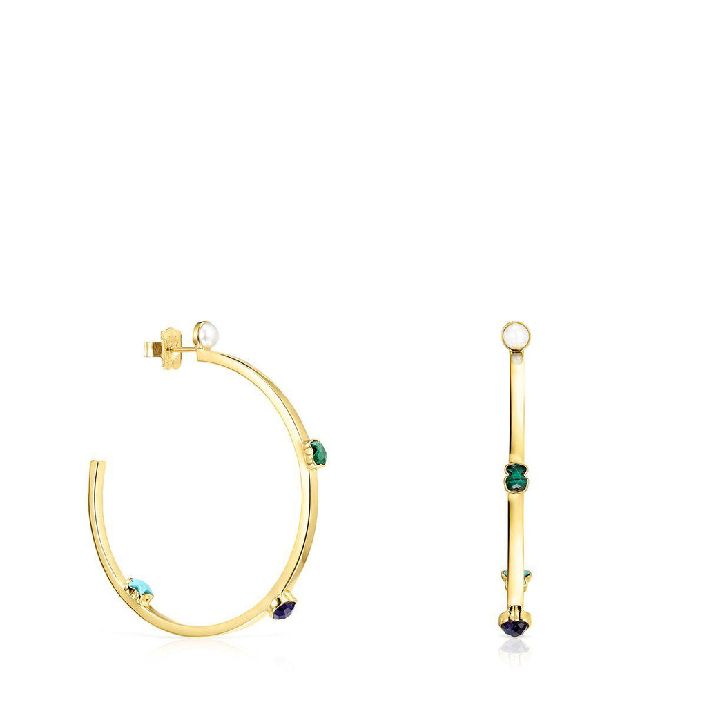 Large Glory Earrings in Gold Vermeil with Gemstones