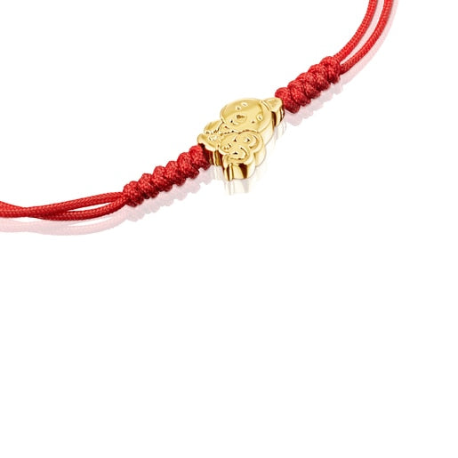 Chinese Horoscope Rooster Bracelet in Gold and Red Cord