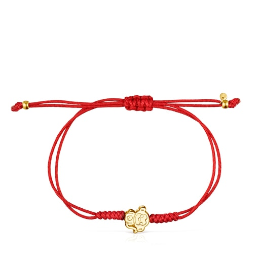 Chinese Horoscope Monkey Bracelet in Gold and Red Cord