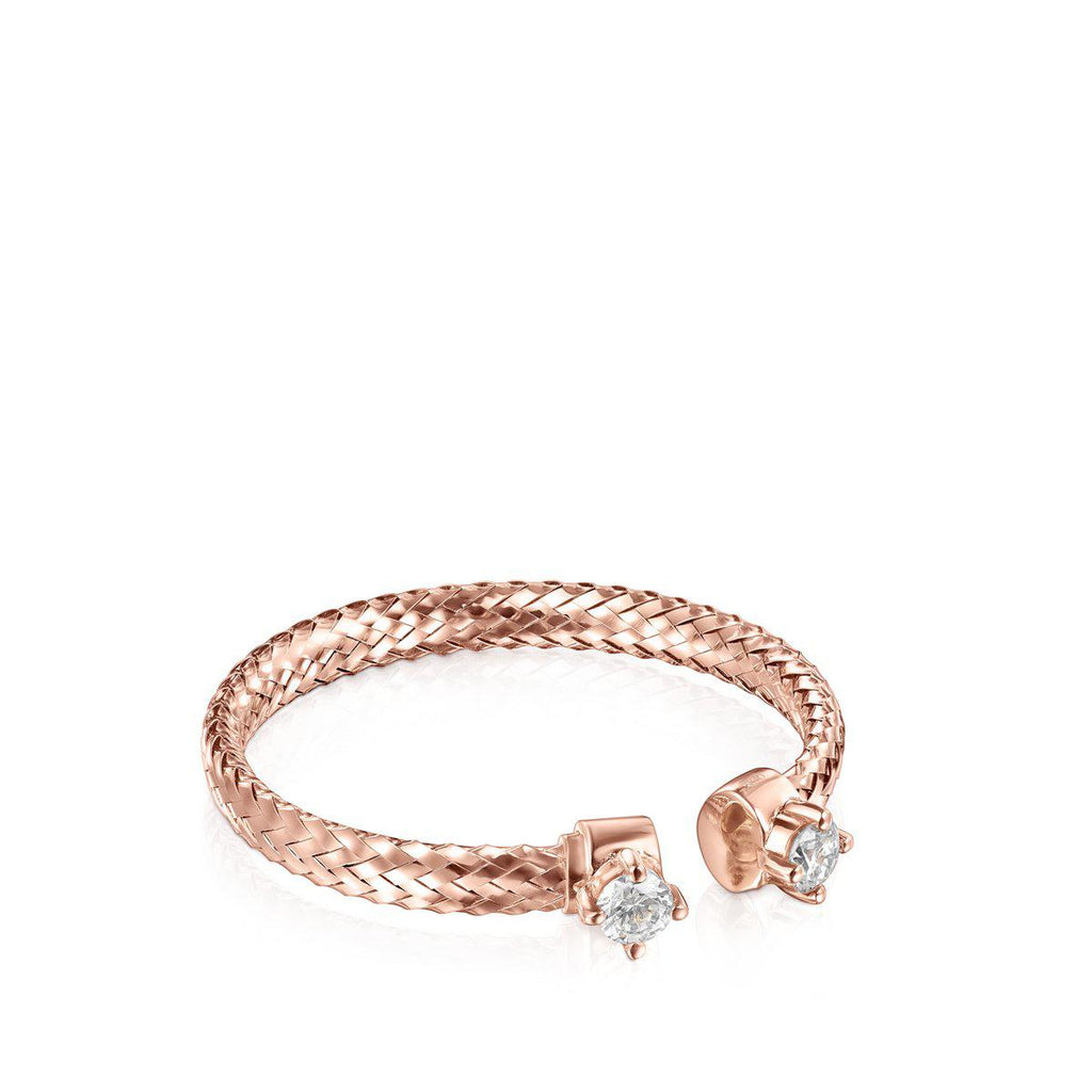 Light open Ring in Rose Gold with Diamonds