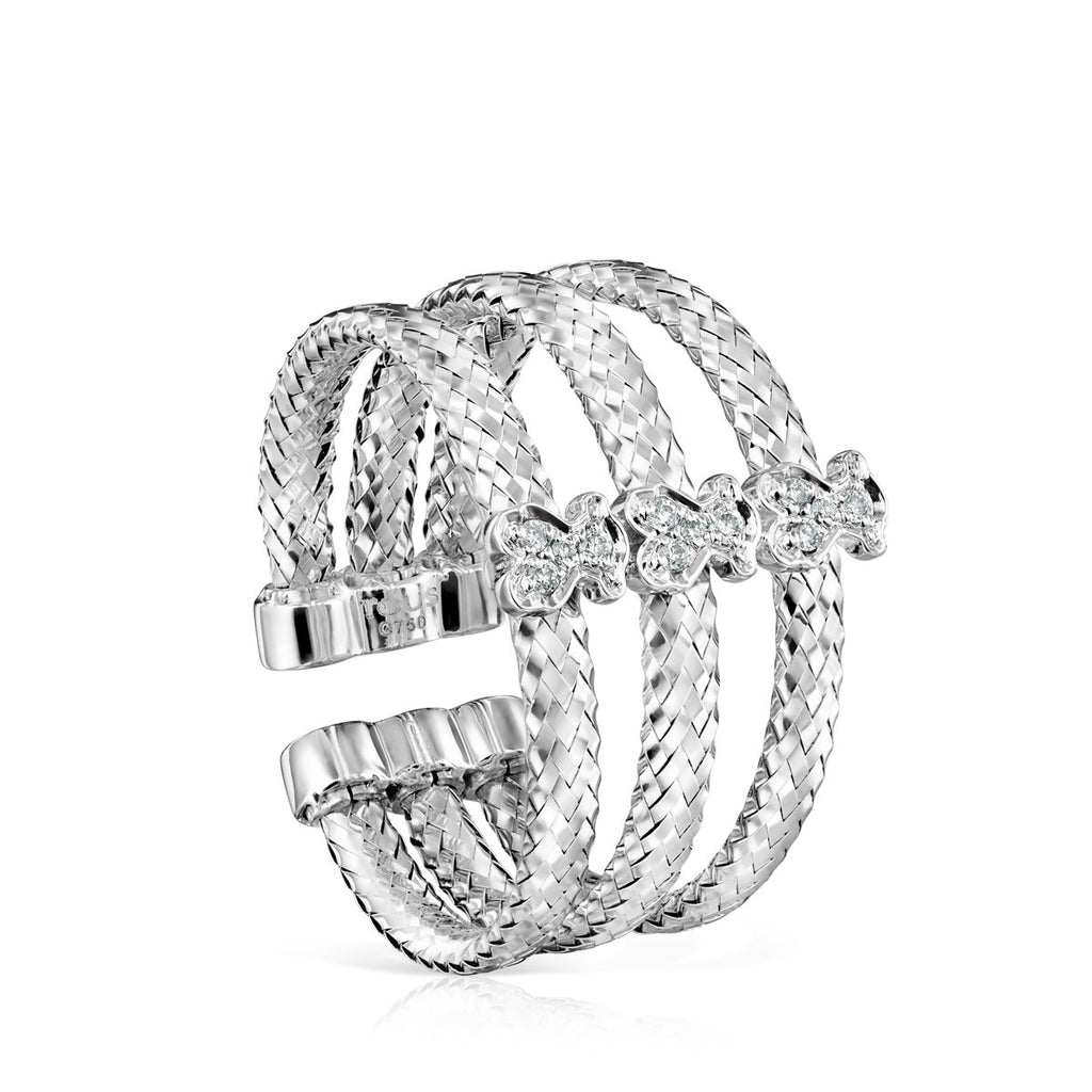 Light triple Ring in White Gold with Diamonds-Ring-Tous Canada
