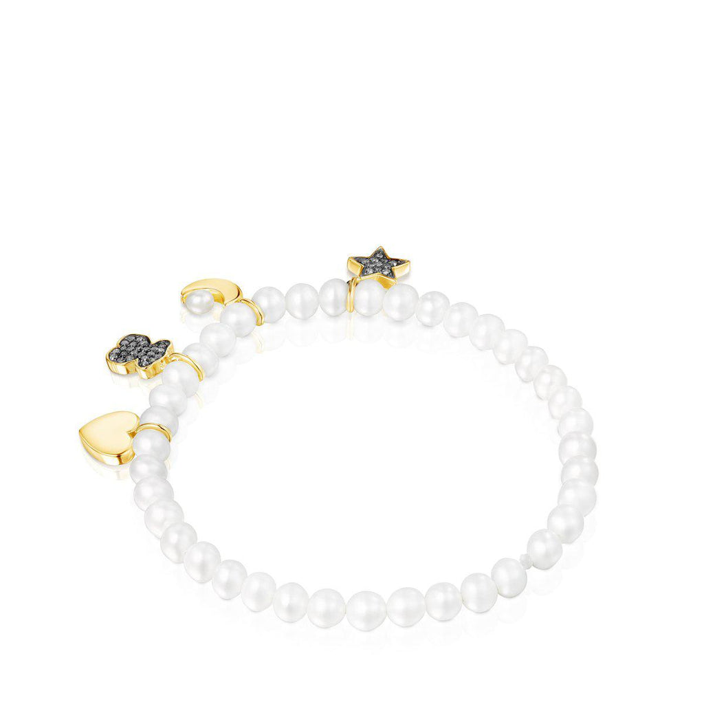 Nocturne Pearl Bracelet with Gold Vermeil and Diamonds