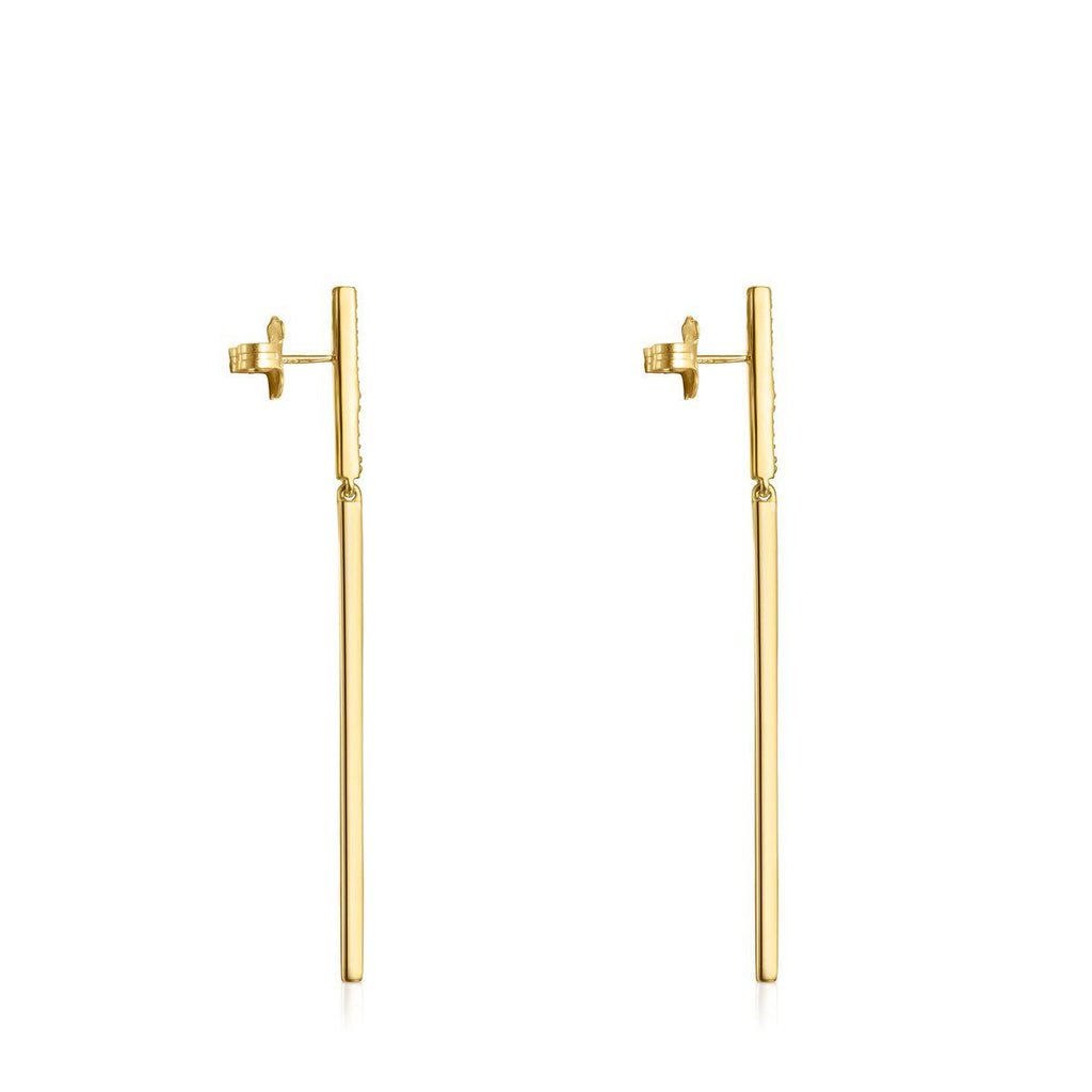 Long Nocturne bar Earrings in Gold Vermeil with Diamonds-Earrings-Tous Canada