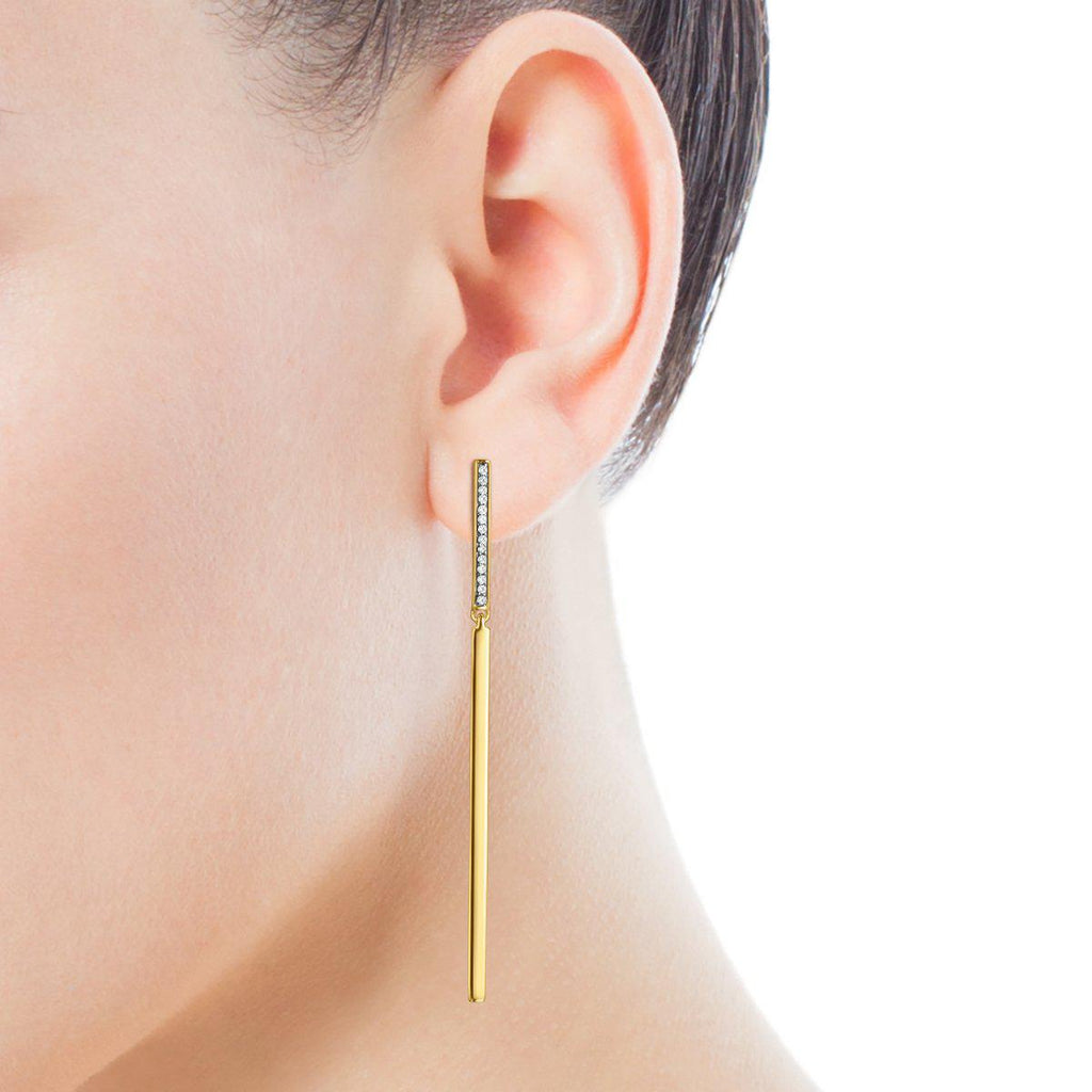 Long Nocturne bar Earrings in Gold Vermeil with Diamonds