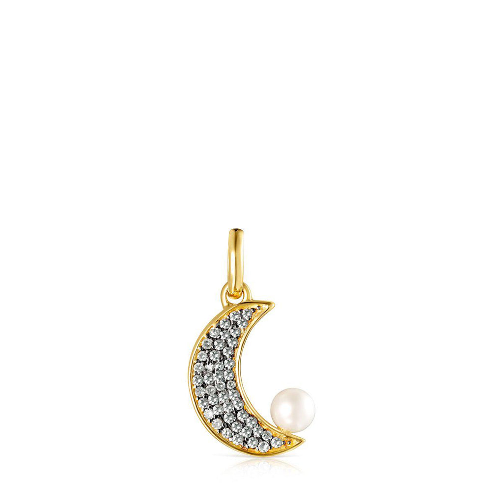 Nocturne half-moon Pendant in Gold Vermeil with Diamonds and Pearl-Default-Tous Canada