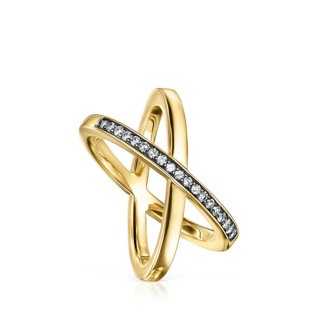 Nocturne crossed Ring in Gold Vermeil with Diamonds