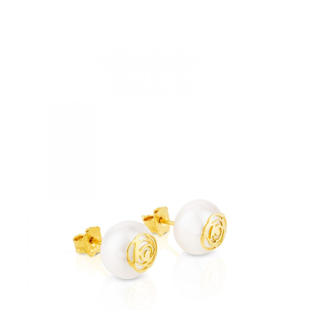 Gold Rosa d'Abril Earrings with Pearl