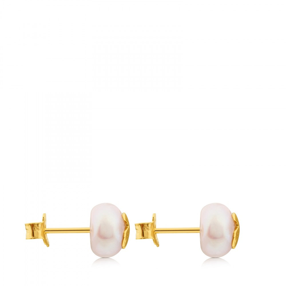 Gold TOUS Bear Earrings with Pearl