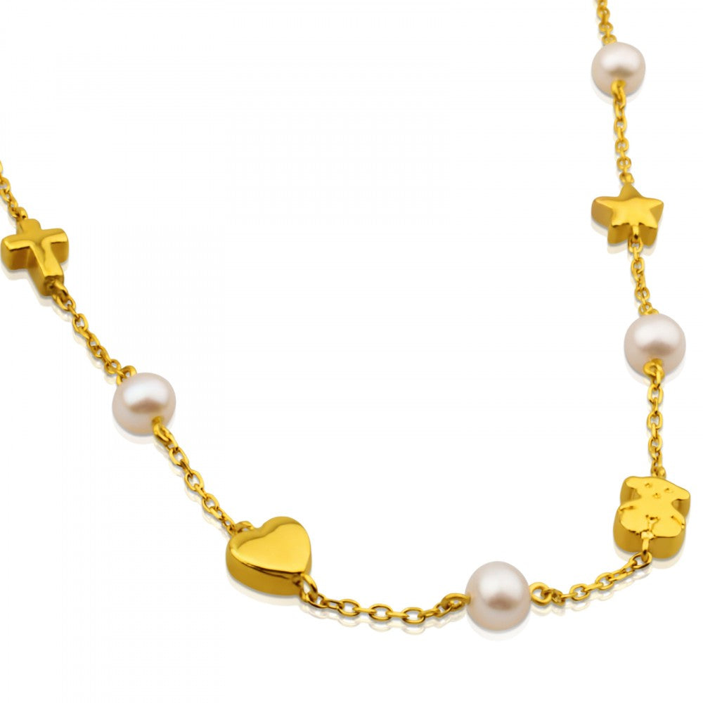 Gold Sweet Dolls Necklace with Pearl