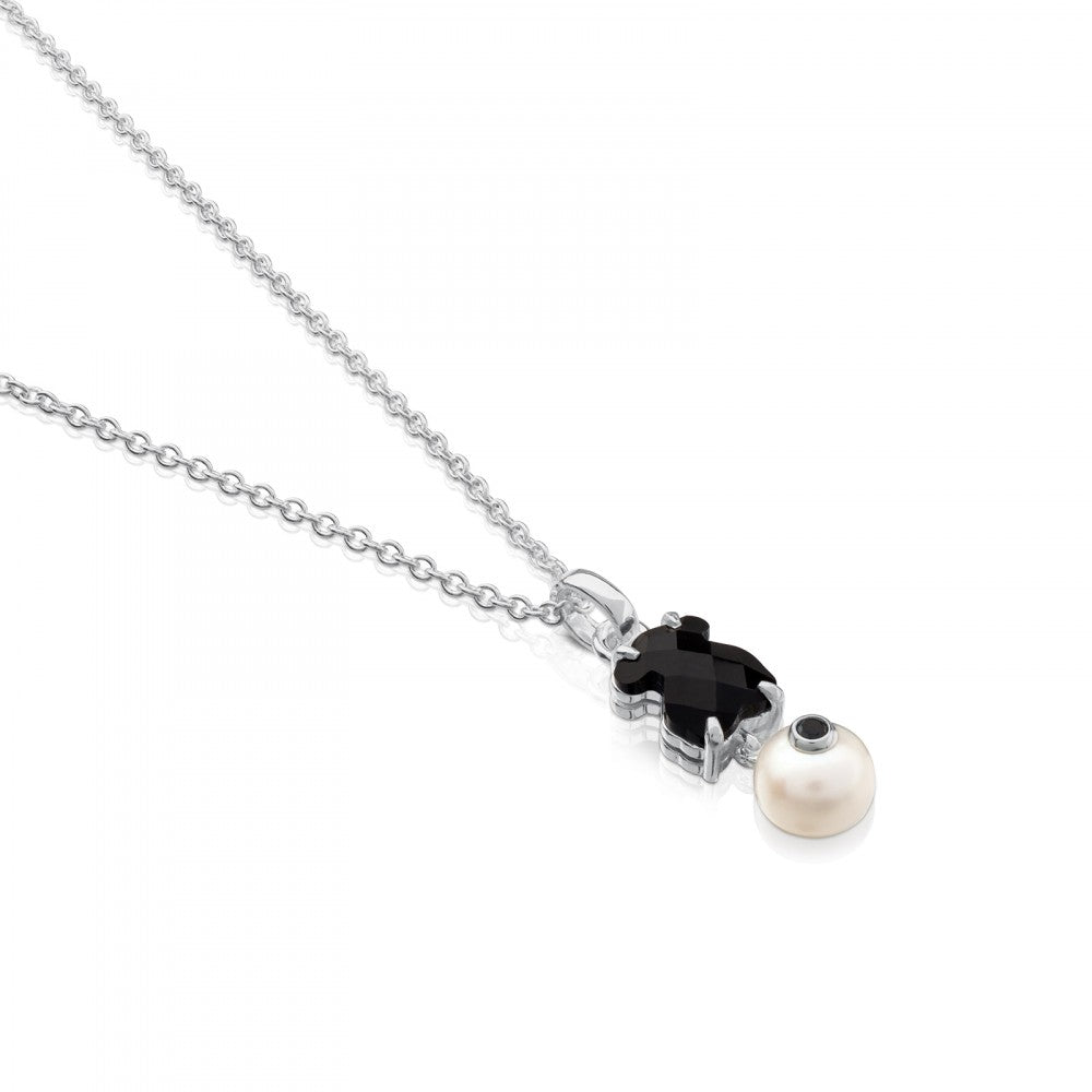 Silver Erma Necklace with Onyx, Pearl and Spinel