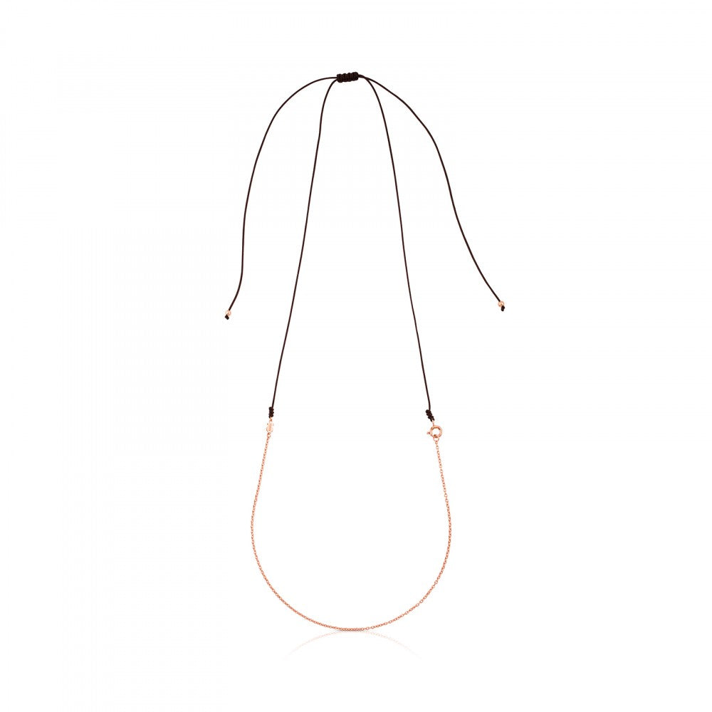 TOUS Chain Choker in Rose Gold Vermeil with brown cord