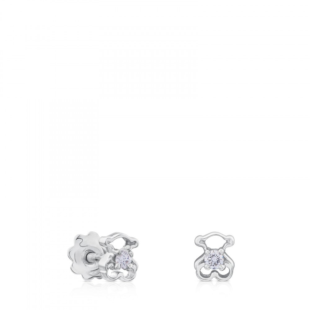 White Gold Silueta Earrings with Diamonds-Default-Tous Canada