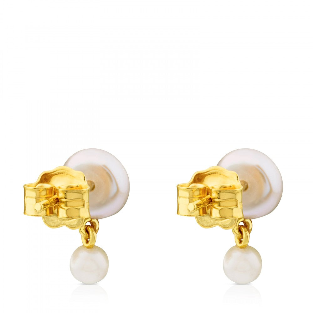 Gold Icon Pearl Earrings with Pearl