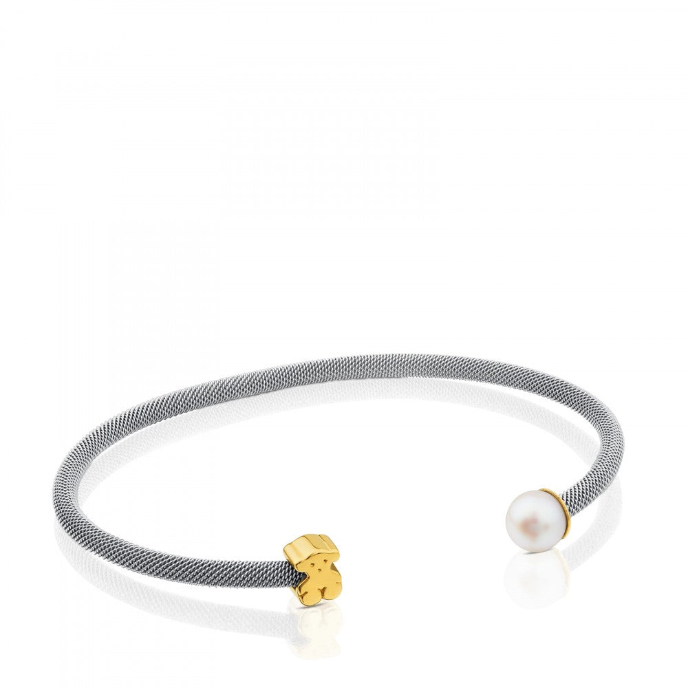 Steel and Gold Icon Mesh Bracelet with Pearl-Default-Tous Canada