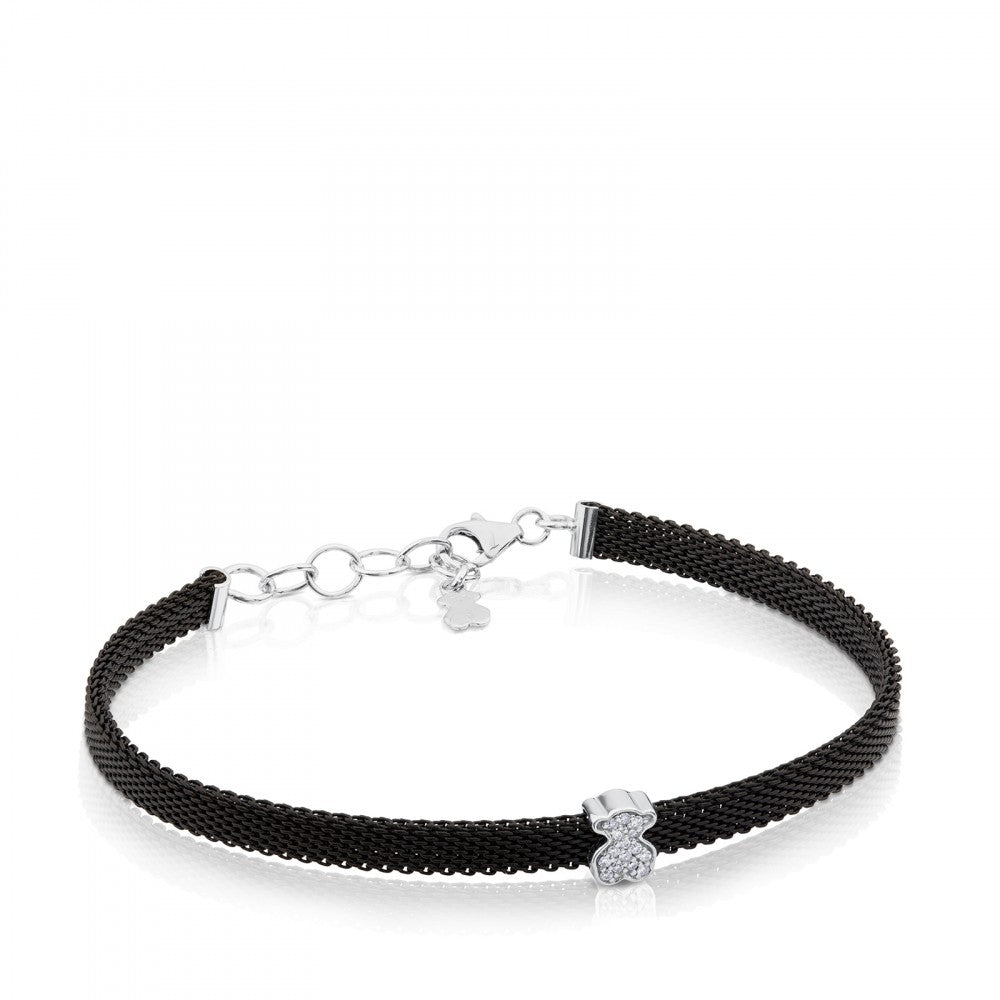 Steel and White Gold Icon Mesh Bracelet with Diamonds