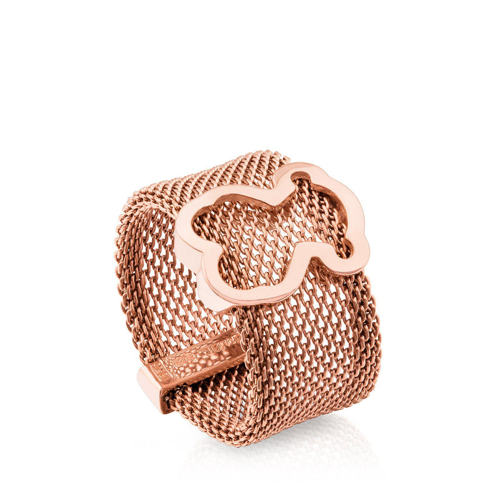 Rose Vermeil Silver and Steel Icon Mesh Ring