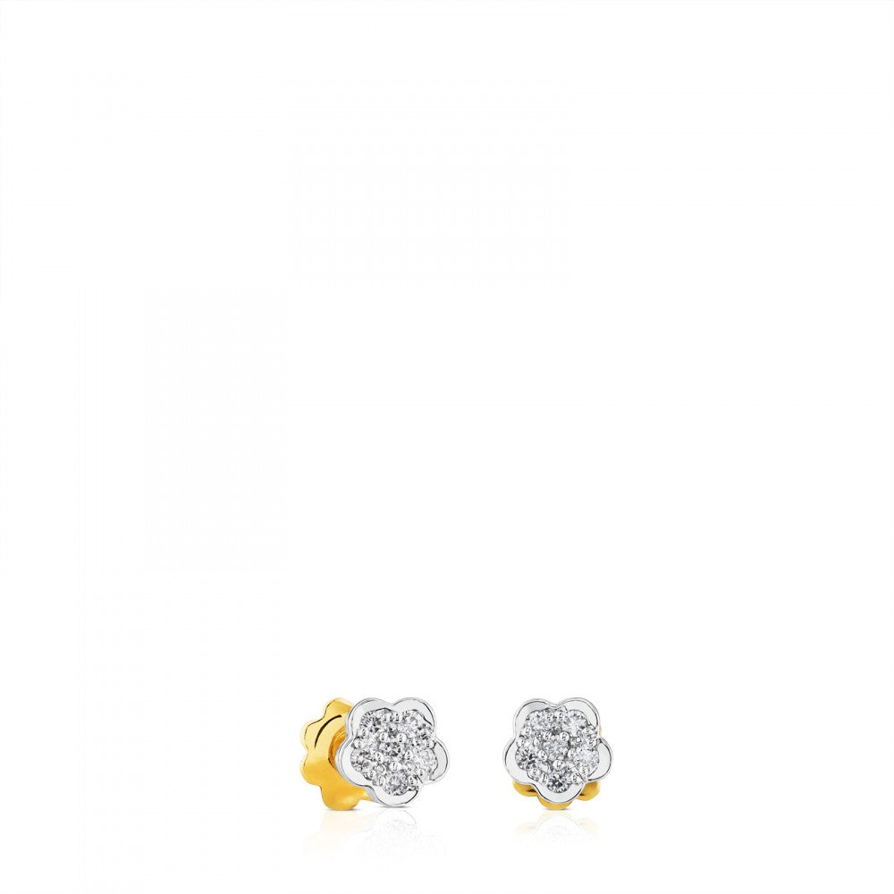 EAR BB AU 0.09CT DMND FLWR PAVE SCRW