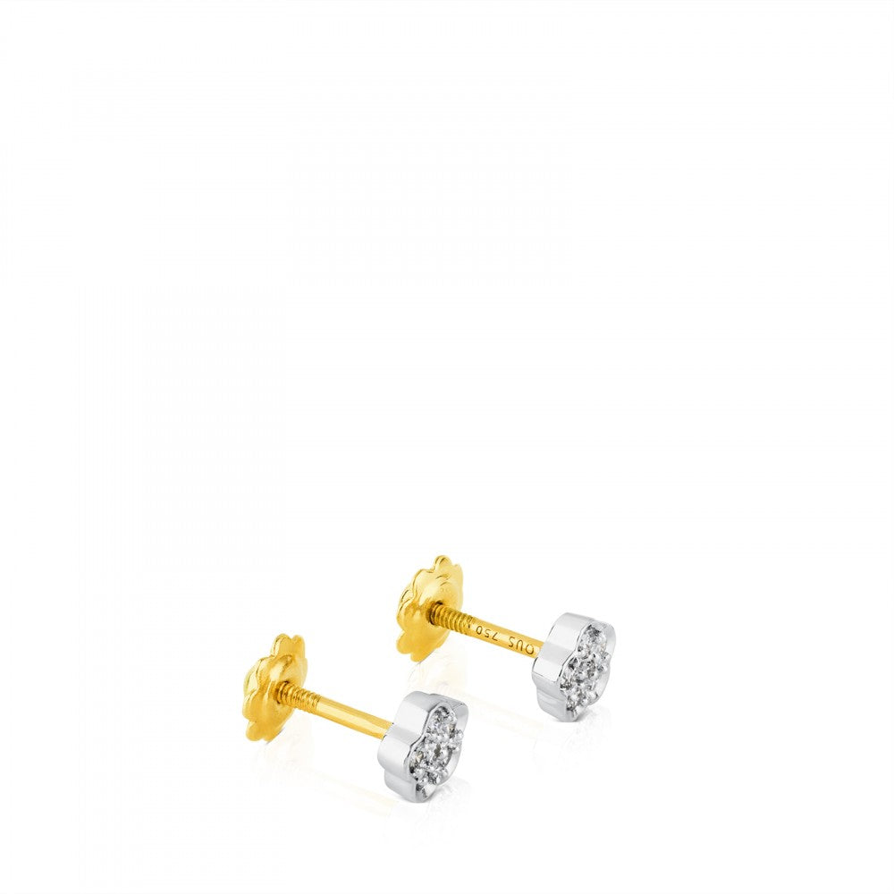 Gold Puppies Earrings with Diamonds